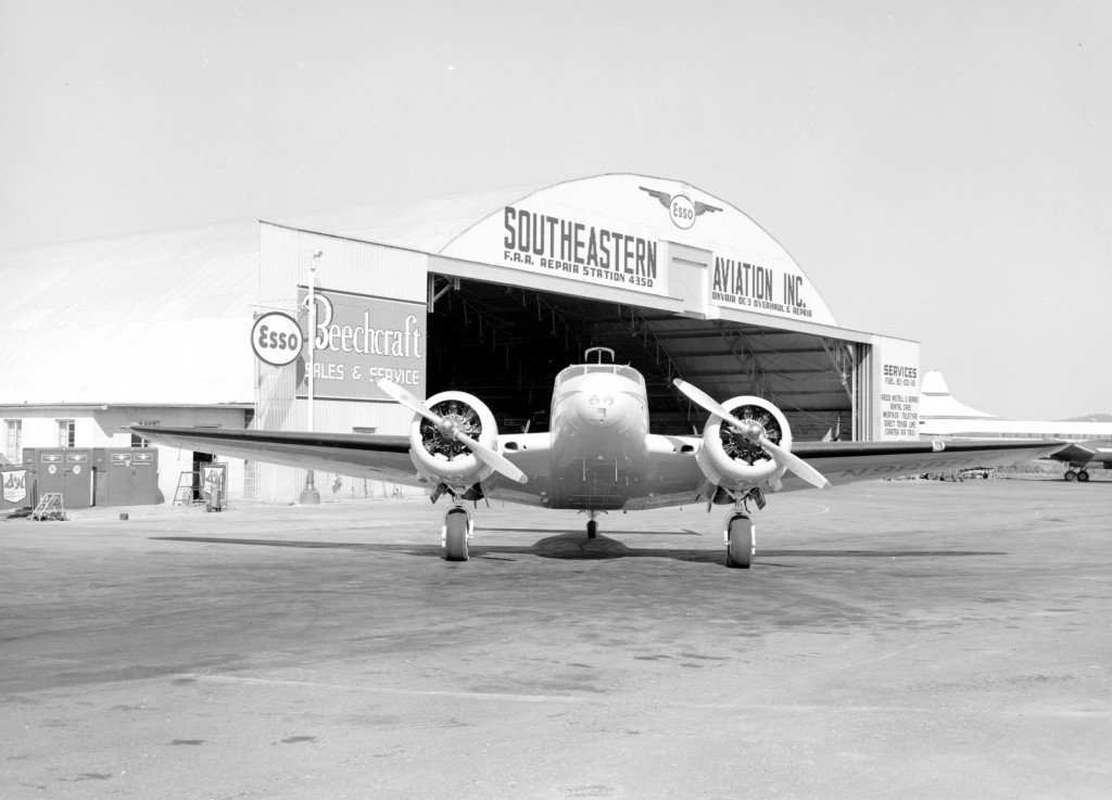 We have such great images of the Tri-City airport that it was difficult to pick just a few. Here is a Southeastern airplane and hangar, 1961. (Peirce Collection KCMC 258)