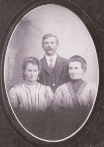 Brigham Mansfield with two of his daughters, Nora and Etta.