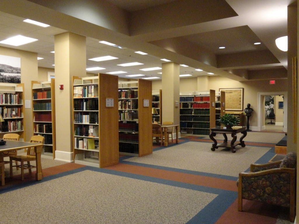 Just a fraction of the reading area and reference collection All of the walls are covered in original art.