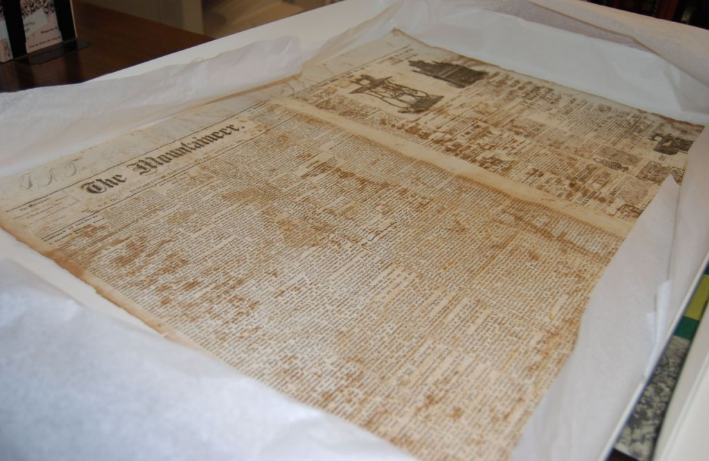One of the oldest items in the archives: an original copy of the Elizabethton Mountaineer Newspaper from August 27, 1880.