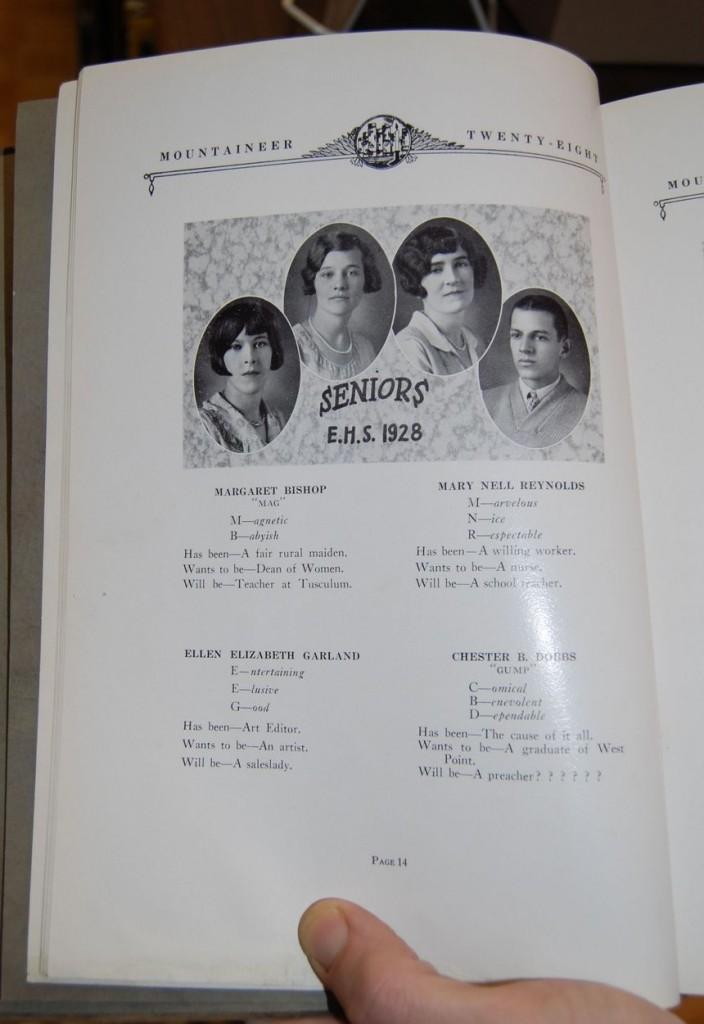 "One of the many yearbooks from the library's extensive collection (see feature image, above). This volume of the ""Mountaineer"" records Mary Reynolds' senior year."