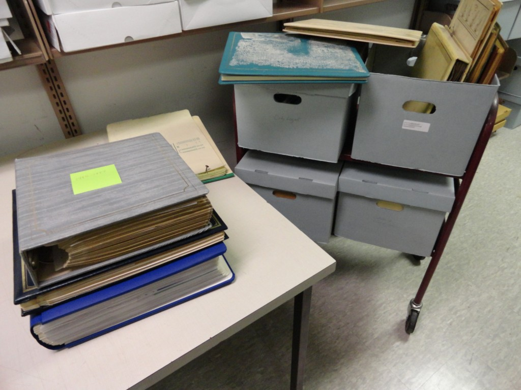 The collection consists of two records center boxes of files and two boxes of scrapbooks.