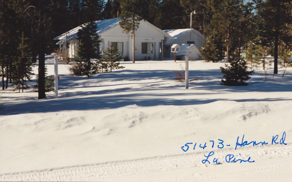 This was the retirement  home of my maternal grandmother and my step-grandpa. The world's greatest snowman ever was erected in this yard by my brothers. La Pine, Oregon.