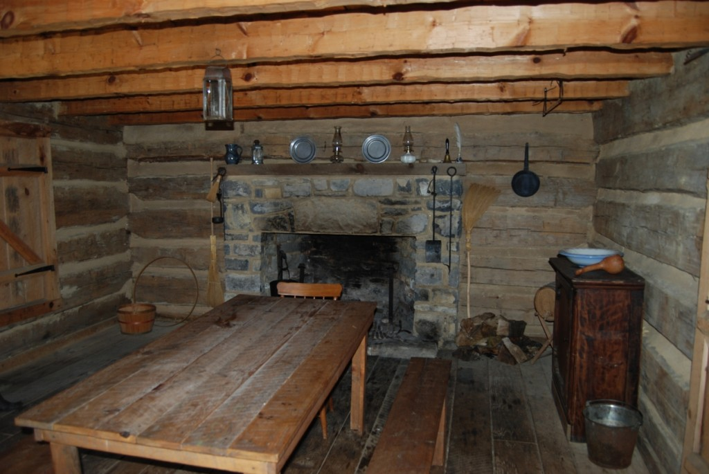 The slave cabin was reconstructed on the original foundation.