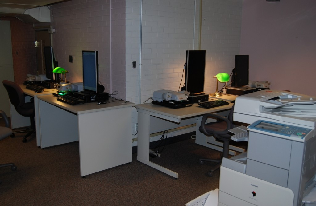 A small portion of the microfilm readers available, ranging from the old hand crank variety to high tech digital readers.