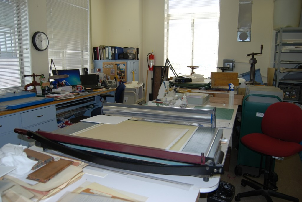 In the lab, many projects are undergo various stages of preservation simultaneously.