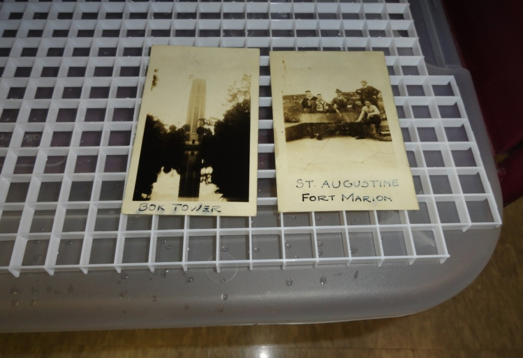 Placing the photographs on a drying rack. This step eventually proved problematic.