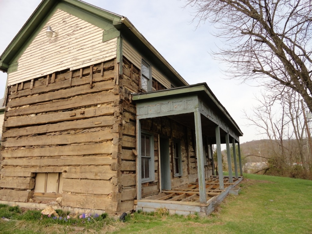 The porch was constructed after the cabin was added onto.
