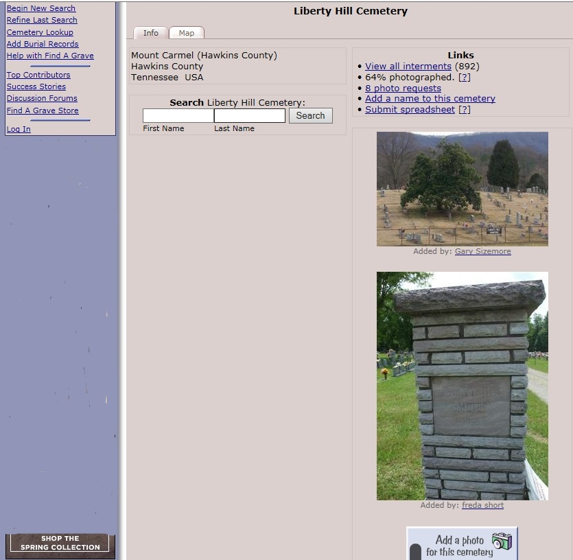 A screen shot of the Liberty Hill Cemetery page on findagrave.com.