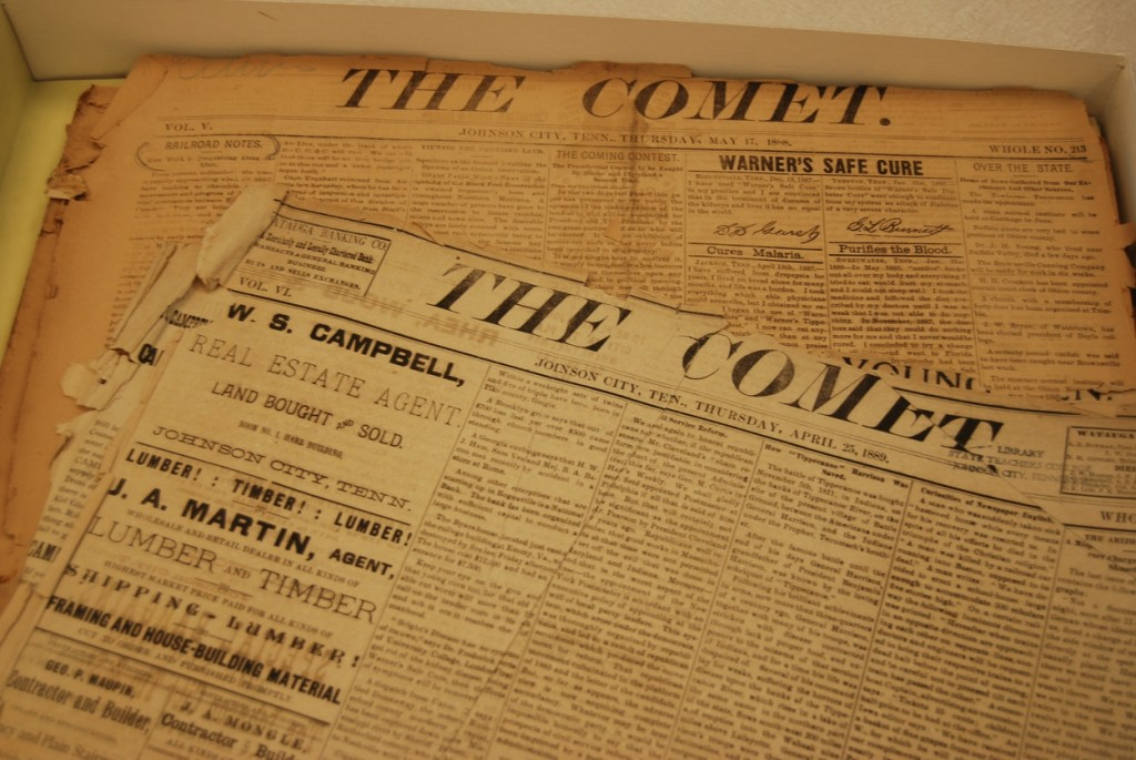 Copies of The Comet, one of Johnson City's earliest papers.