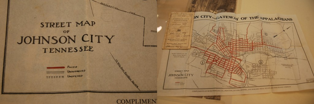 "An early map of Johnson City. Notice the legend differentiating ""paved,"" ""unimproved,"" and ""unopened"" roads."
