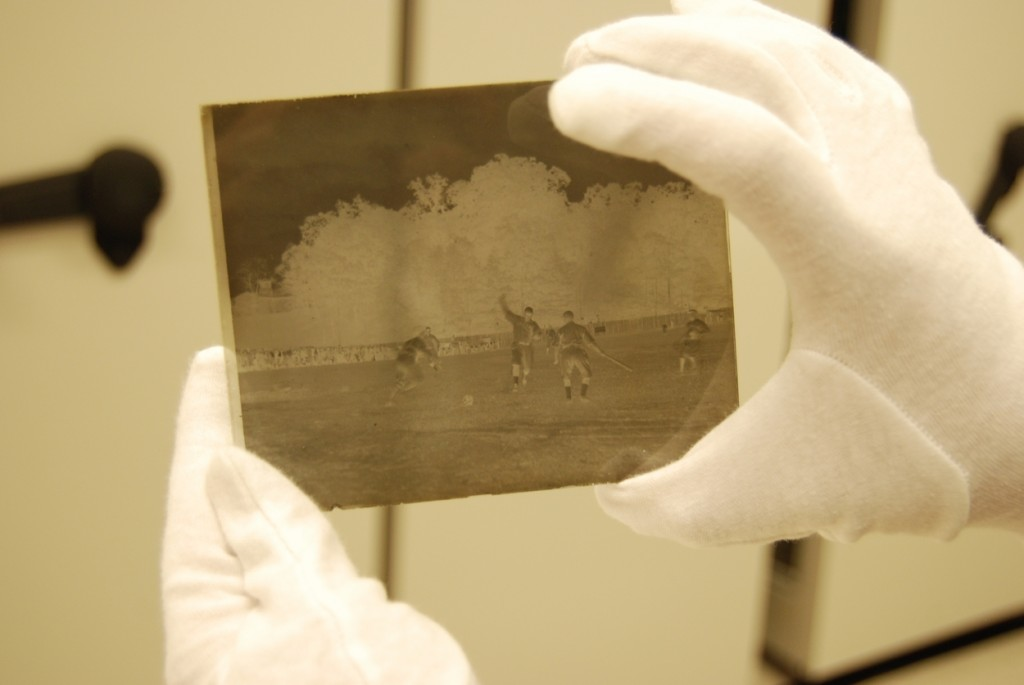 Glass plate negative from an early baseball game.