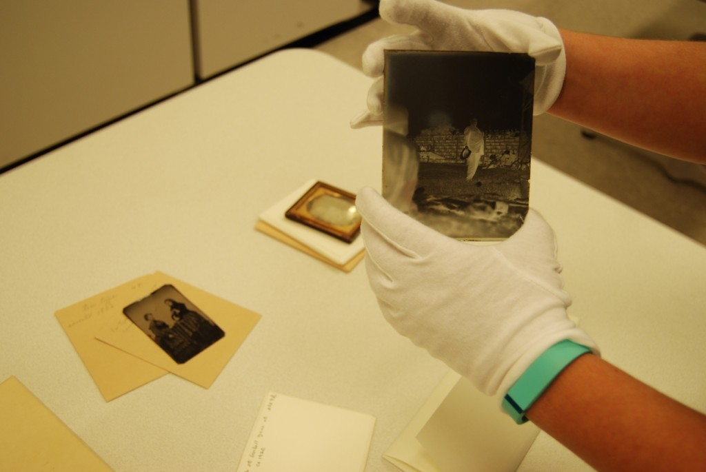 Another glass plate negative from the university collections. Laura makes an excellent hand model.