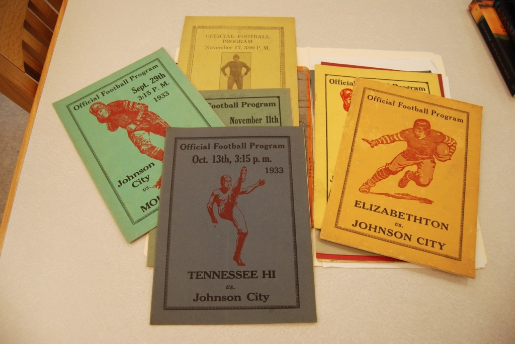 "The subject files contain collections that are too small to be on their own, or like items that are amassed from small donations. Here are 1930s football programs from ""Johnson City"" high."