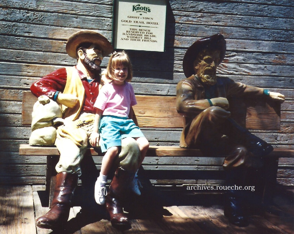Anna sitting with 'Handsome Brady' and 'Whiskey Bill,' 1995.