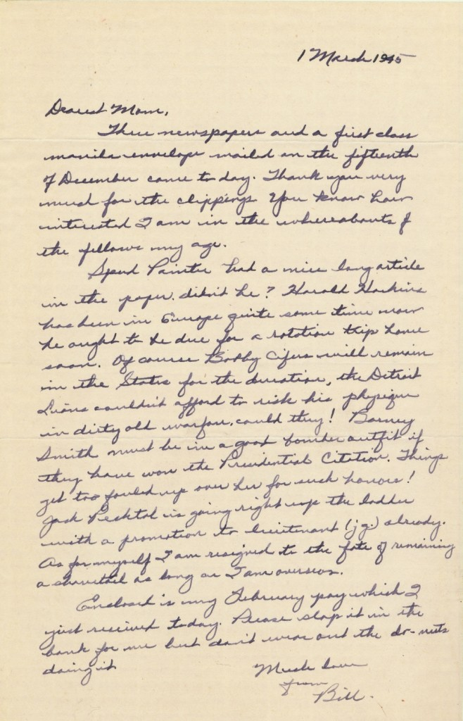 This letter to Lillian Palmer at home in Kingsport thanks her for sending newspaper clippings containing updates on his friends in their  military assignments, whom he lists by name.