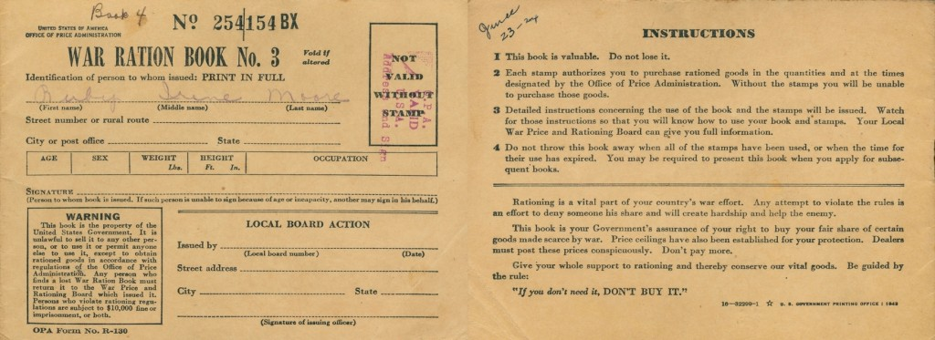 Ration books belonging to Mack and Ruby Moore.
