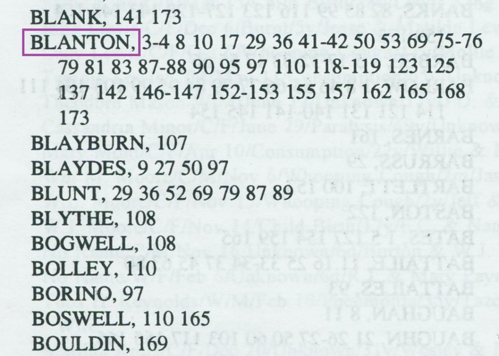 The surname index included names for the deceased, next of kin, and reporters.
