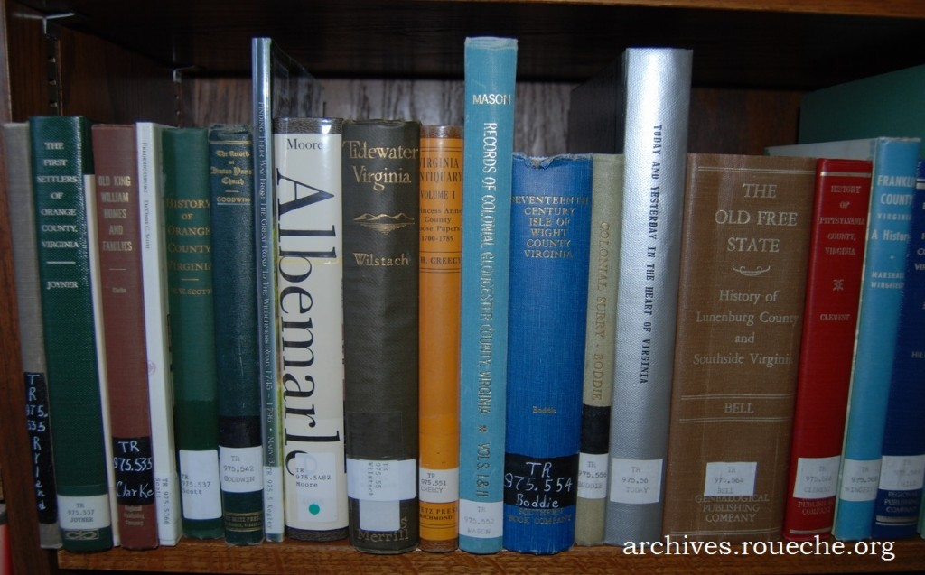 Just one shelf of the numerous county histories for Virginia at my library!