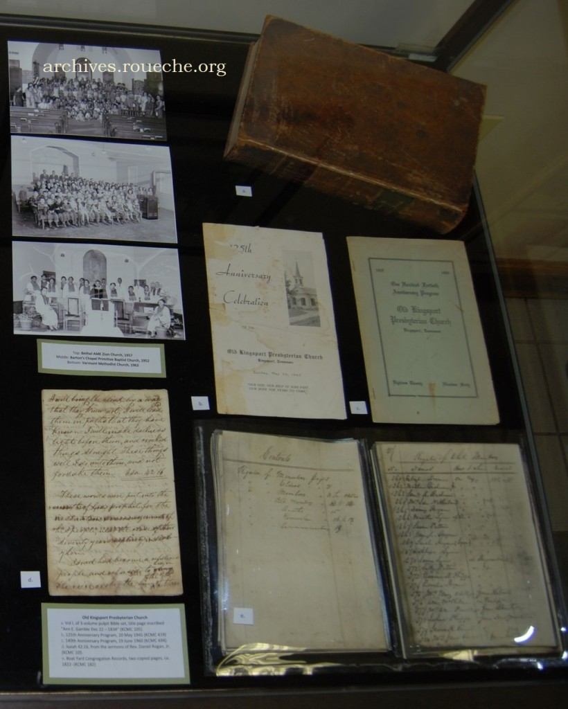 Among the items representing Old Kingsport Presbyterian are one of Rev. Daniel Rogan's handwritten sermons, copies made from their very first church registry, a pulpit Bible, and programs from their 125th and 140th anniversary's.