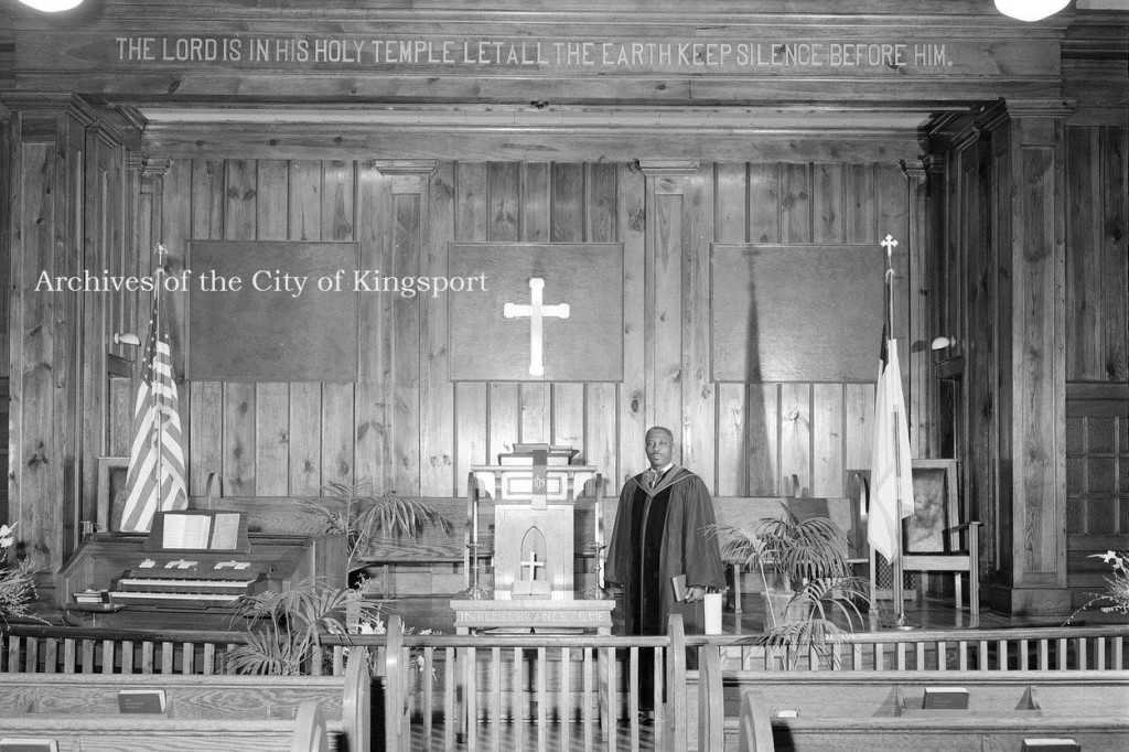 Rev. Manning of St. Mark's Methodist. I love the quotation on the wall, the solemnity of the sanctuary, and the regal stature of Rev. Manning in this portrait from 1951.