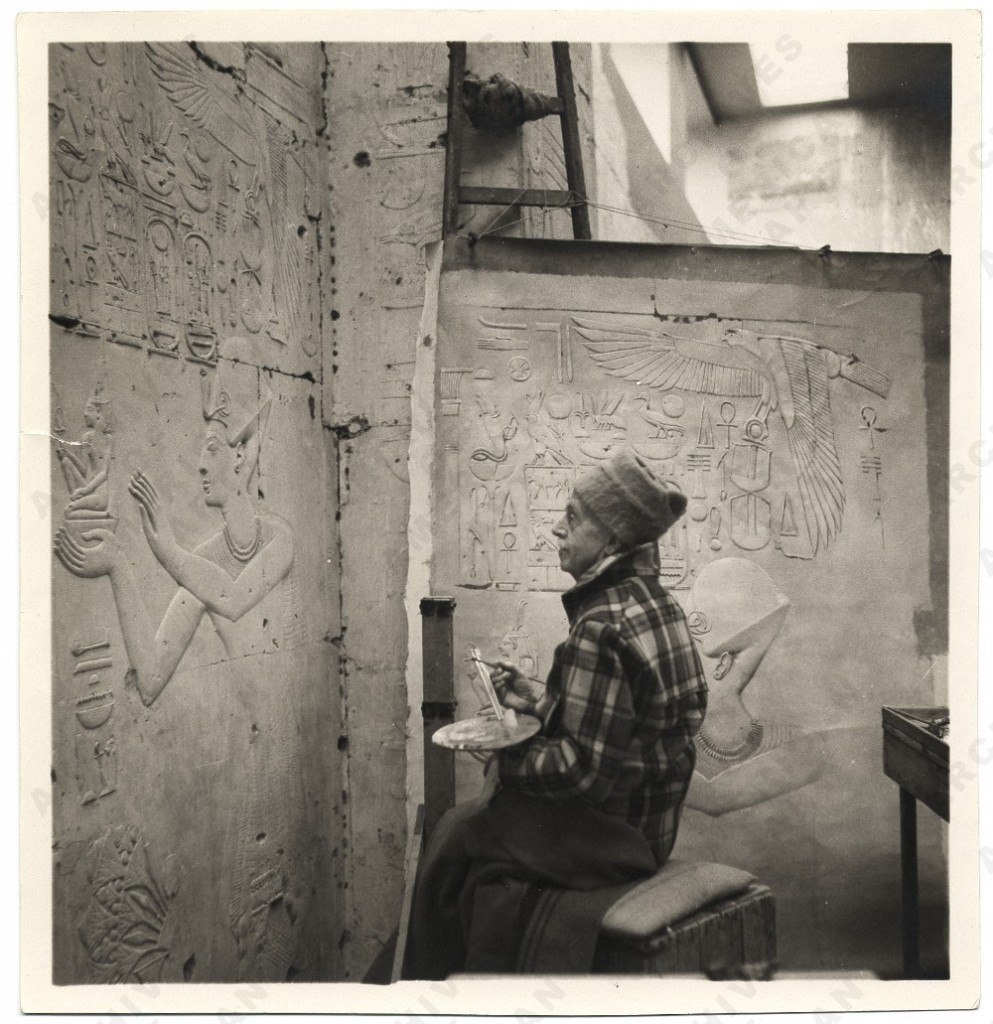 Joseph Lindon Smith painting, ca. 1947. Abydos, Egypt.