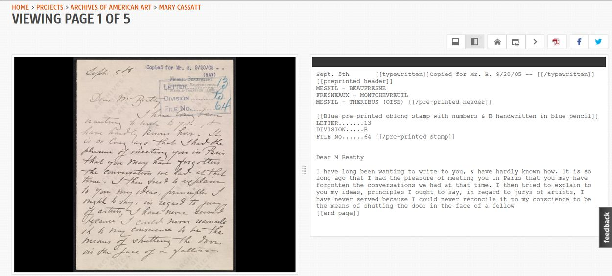 A completed letter in Mary Cassatt's handwriting. I love the SI lets you leaf through finished work, new pages, and work ready for review without any causing any disruptions to the process.