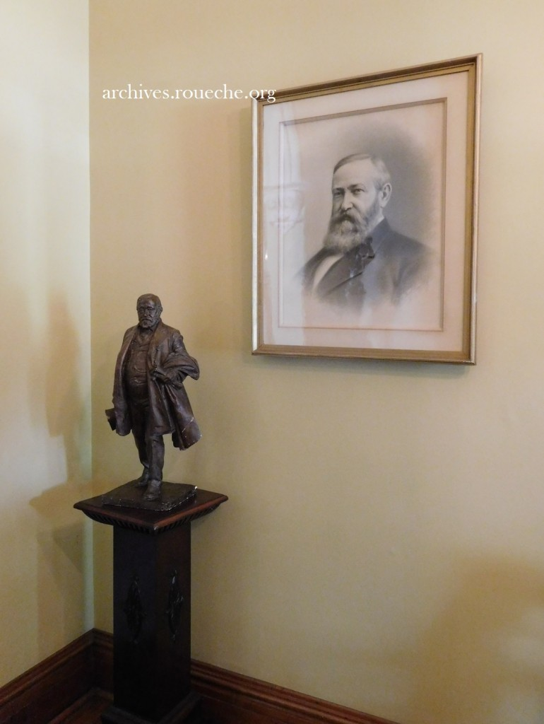 Two images of President Harrison in the front foyer.