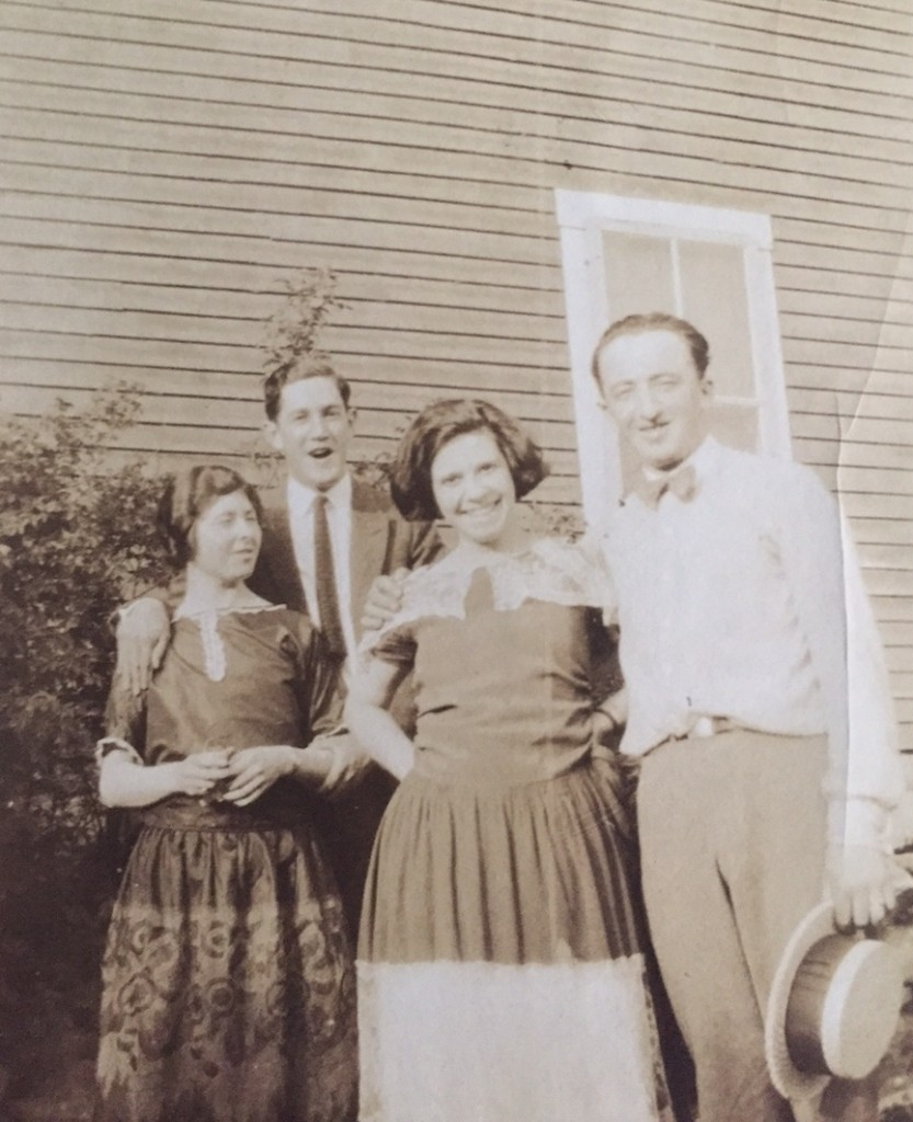 Grandmere Emelia, Grandpere John, Aunt Yvette, and friend.