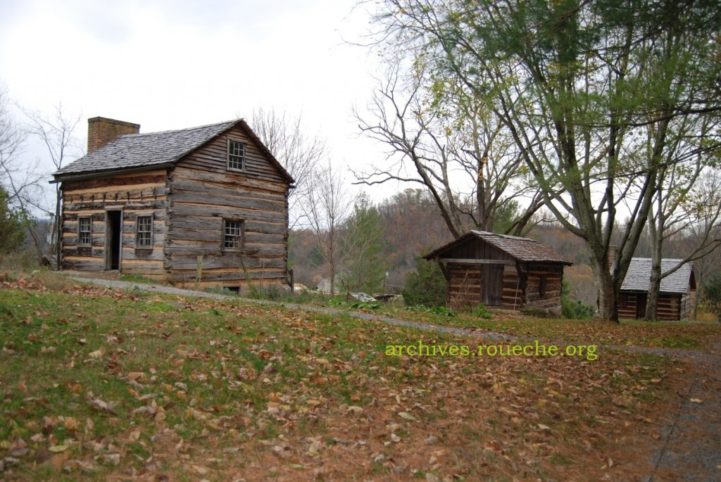 The main house, weaving house, and slave cabin.