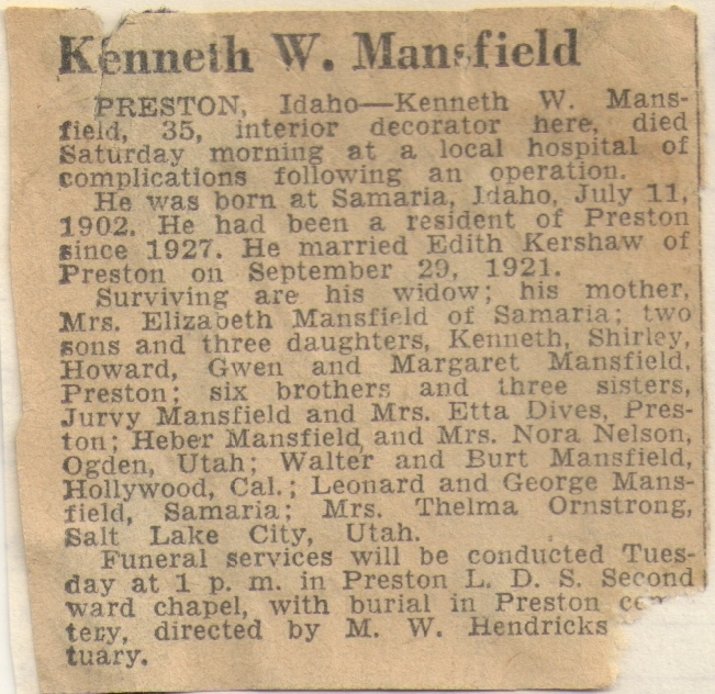 Great Uncle Kenneth was three kids older than my grandma.