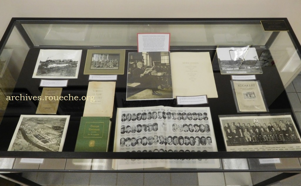 The left exhibit case  spans the history of Tennessee Eastman from 1920-1950.
