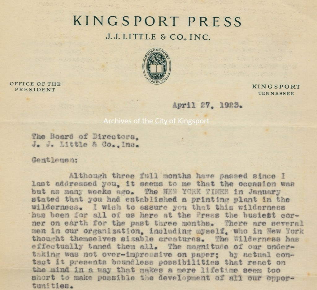 "1923 letter from company president Edward Triebe to the board of J.J. Little describing Kingsport as a ""wilderness."""
