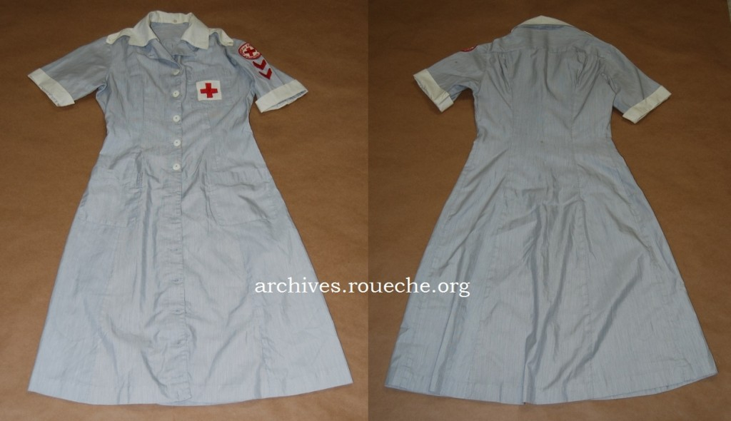 Grey pinstriped dress made by the Dilly Uniform Co., circa 1960s; worn by school nurses.