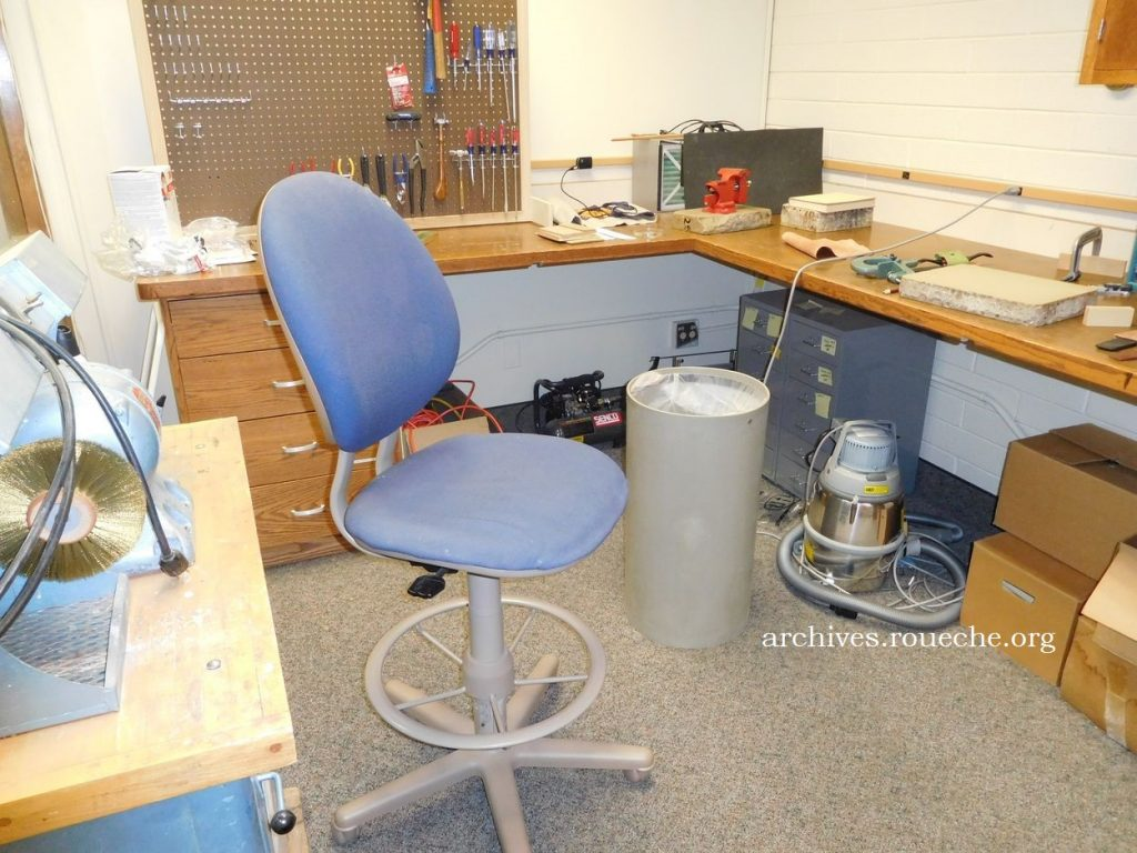 """A """"dirty"""" room for filing, leather work, and other messy tasks."""